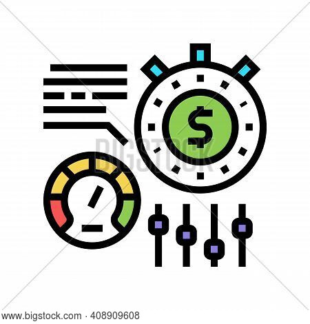 Time For Earn Money Settings And Optimize Color Icon Vector. Time For Earn Money Settings And Optimi
