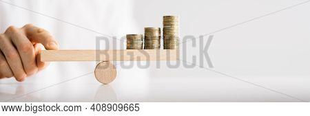 Inflation Price Balance. Financial Leverage. Money Concept