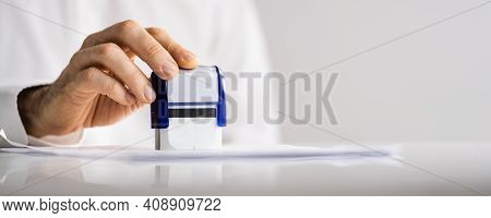 Approved Paper Document Stamp. Permit Rubber Stamper