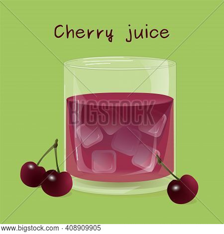 Glass Of Cherry Juice With Ice And Cherries. Drawn Vector Illustration.