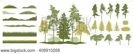 Constructor Kit. Silhouettes Of Beautiful Spruce Trees, Pine, Other Trees, Grass, Hill. Creation Of