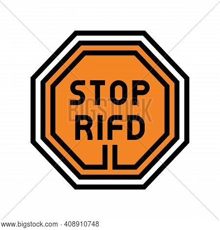 Stop Rfid Color Icon Vector. Stop Rfid Sign. Isolated Symbol Illustration