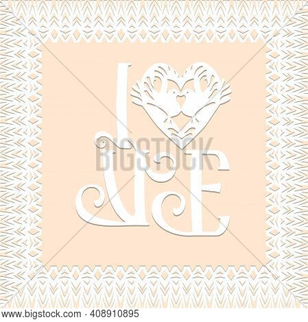 Love Symbol, Valentine Card, Decorative Heart With Birds And Lace Frame In White Color Isolated Back