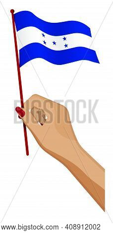 Female Hand Gently Holds Small Flag Of Republic Of Honduras. Holiday Design Element. Cartoon Vector