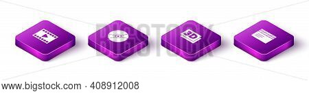 Set Isometric Play Video, Cd Or Dvd Disk, 3d Word And Movie Clapper Icon. Vector