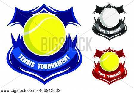 Tennis Sporting Emblems. Ball For Tennis On Background Of Stylized Shield. Tournament Symbol. Easy T