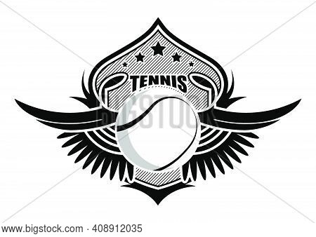 Sport Ball On Background Of Stylized Shield With Wings. Tennis Sporting Emblems. Tournament Symbol.