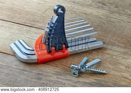 An Image Of A Furniture Set Of Keys For A Screw, A Confirmation - Which Are Used For Screeds, Furnit