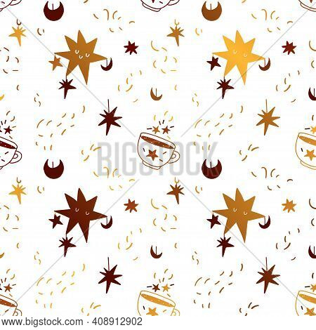 Gold Seamless Pattern With Sleeping Stars And A Mug Of Magic Drink. A Hand-drawn Pattern Of Celestia