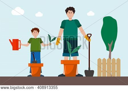 Father And Son In The Garden. Vector Friendly Family Plants A Vegetable Garden. Cartoon Illustration