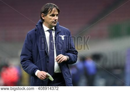 Milano, Italy. 14th February 2021 . Simone Inzaghi Of Ss Lazio   During The Serie A Match Between Fc