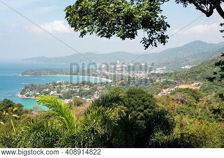 Bird Eye View On Phuket Island Coastline. Panorama Of Tropical Beach. Beautiful Turquoise Ocean Wave