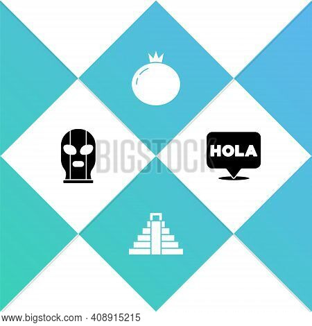 Set Mexican Wrestler, Chichen Itza In Mayan, Tomato And Hola Icon. Vector