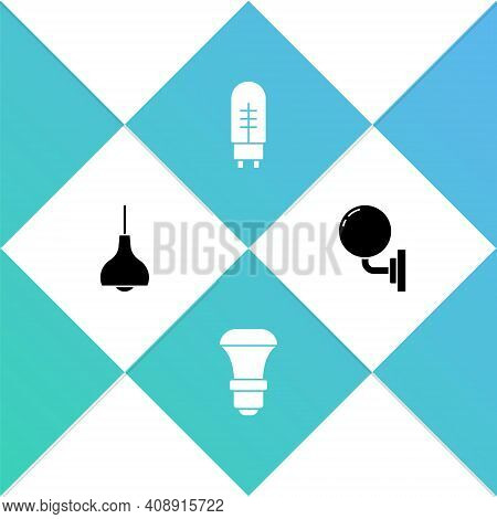 Set Lamp Hanging, Led Light Bulb, Light Emitting Diode And Wall Lamp Or Sconce Icon. Vector