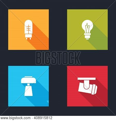 Set Light Emitting Diode, Bulb, Table Lamp And Led Track Lights And Lamps Icon. Vector