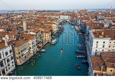 Venice, Rialto Bridge and Grand canal  from the sky
