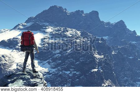 Hiker With Backpack Standing On A Rock In Front Of A Mountain During Winter . This Is A 3d Render Il