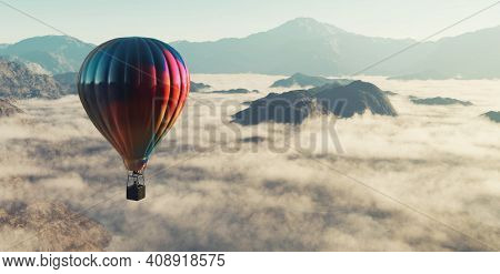 Hot Air Balloon Flying Above Clouds At The Mountains . This Is A 3d Render Illustration .
