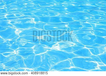 Blue Swimming Pool Rippled Water Background