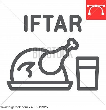 Iftar Line Icon, Happy Ramadan And Religion, Chicken Food With Water Vector Icon, Vector Graphics, E