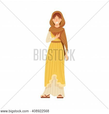 Roman Woman Wearing Long Tunic And Sandals As Traditional Clothes Vector Illustration