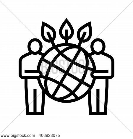 People Safe Planet Ecosystem Line Icon Vector. People Safe Planet Ecosystem Sign. Isolated Contour S