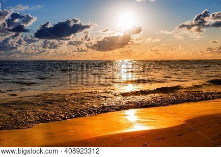 Paradise Tropical Island Beach In Sunrise. Landscape Of Beautiful Beach In Punta Cana, Dominican Rep