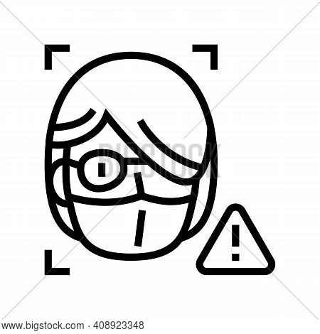 Computer Safe Person Info For Use Face Id Line Icon Vector. Computer Safe Person Info For Use Face I