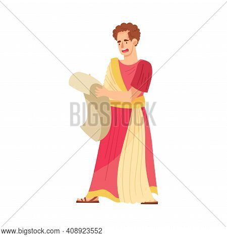 Young Male As Roman Emperor In Long Dress Reading Scroll Vector Illustration