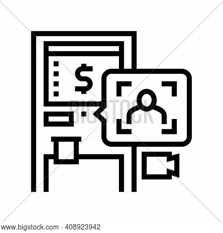 Atm Technology With Face Id Line Icon Vector. Atm Technology With Face Id Sign. Isolated Contour Sym