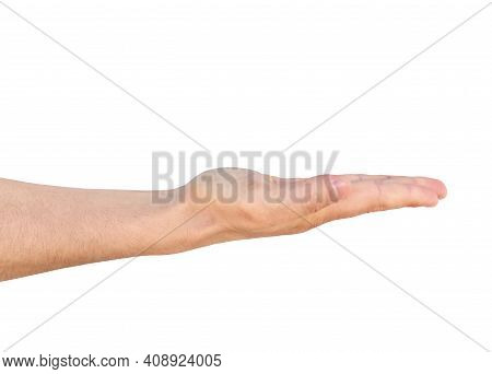 Empty Man Hand Sign Isolated On White Background.