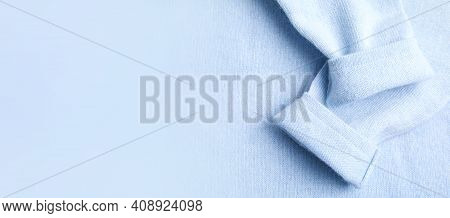 Warm Cashmere Sweater As Background, Top View With Space For Text. Banner Design