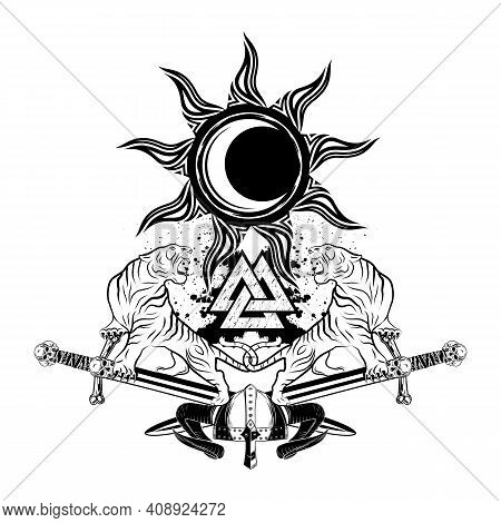 Furious Tigers On The Background Of Crossed Swords. Sacred Symbol Of Celts. Black Sun And The Moon.