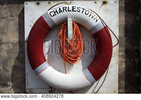 Charleston Town (england), Uk - August 16, 2015: A Lifebuoy In The Historic 18th.century Charleston