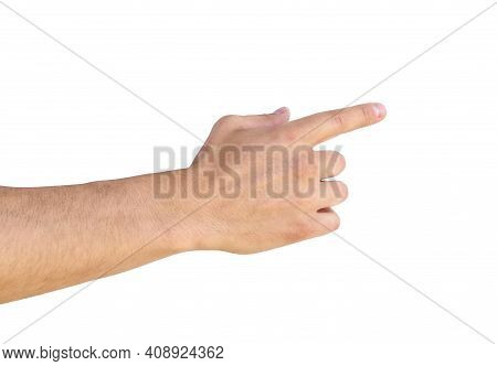 Empty Man Hand Sign Isolated On White Background. Man Hand Holding Isolated On White.