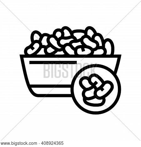 Beans Groat Line Icon Vector. Beans Groat Sign. Isolated Contour Symbol Black Illustration