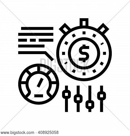 Time For Earn Money Settings And Optimize Line Icon Vector. Time For Earn Money Settings And Optimiz