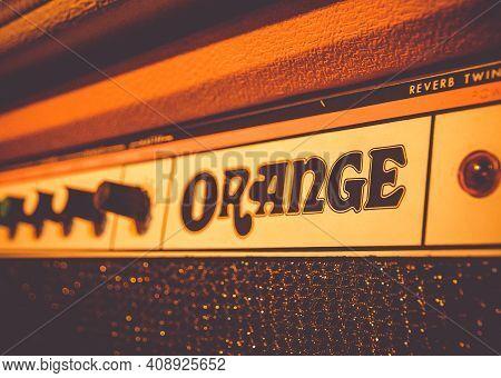 Paris - France -december 1, 2020 : Orange Electric Guitar Amplifier Close-up View