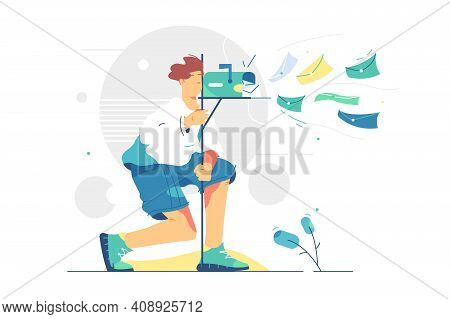Lots Of Letters In Mailbox Vector Illustration. Person Check Mail Box, Flying Bunch Of Correspondenc