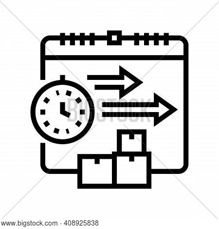 Time Delivery Procurement Line Icon Vector. Time Delivery Procurement Sign. Isolated Contour Symbol