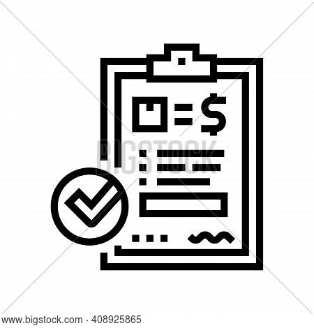 Evaluation And Contract Line Icon Vector. Evaluation And Contract Sign. Isolated Contour Symbol Blac