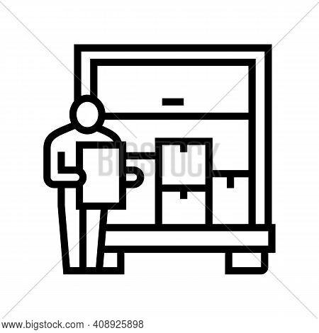 Delivering Service Procurement Line Icon Vector. Delivering Service Procurement Sign. Isolated Conto
