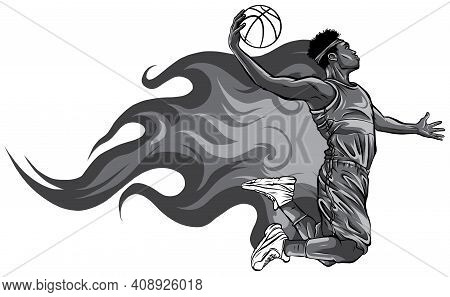 Monochromatic Illustration. Basketball Player Throws The Ball In The Basket