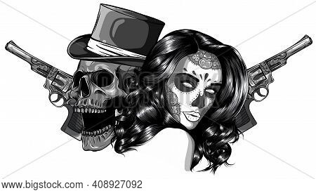 Vector Illustration Monochromatic Gangster With Gun And Woman