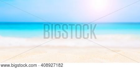 Panorama Of Summer Beach And Blurred Blue Sky.. Landscape Of Tropical Summer. Summer Beach Vacation
