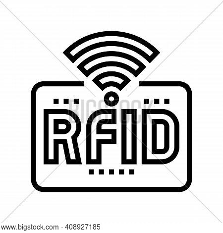 Rfid Wireless Sign Line Icon Vector. Rfid Wireless Sign Sign. Isolated Contour Symbol Black Illustra