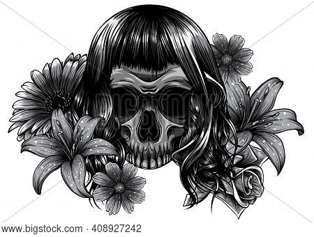 Illustration On White Background. Monochromatic Day Of The Dead. Vintage.