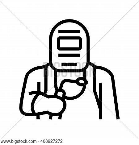 Welder Worker Line Icon Vector. Welder Worker Sign. Isolated Contour Symbol Black Illustration