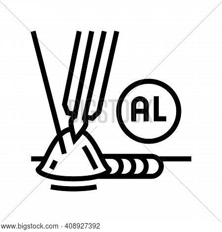 Aluminum Welding Line Icon Vector. Aluminum Welding Sign. Isolated Contour Symbol Black Illustration