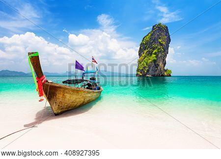 Thai Longtail Boat Near Koh Poda Island